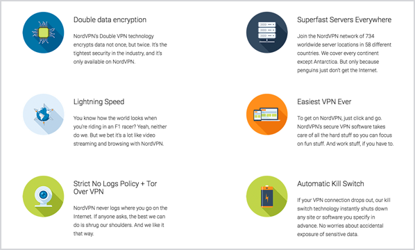 NordVPN has a robust selection of features